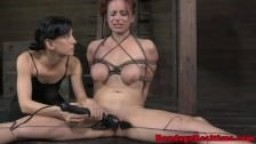 Bondage BDSM sub Bella Rossi pussy lips clamp