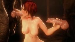 Une rousse demande à deux loups de lui couvrir la face de sperme - Vidéo porno hentai - 3D - #02