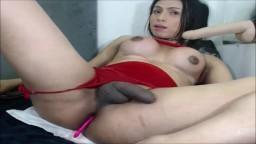 Cette shemale latine se gode le cul pendant qu'elle se branle - Vidéo porno hd